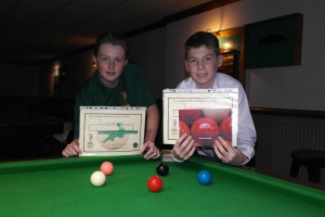 WEBSF Bronze Waistcoat Open Snooker Championship Plate Finalists - Runner-up Kyle Carter & Winner Connor Benzey 2016