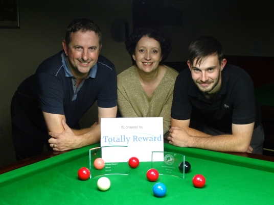 Gold Series Event 1 Finalists - Andy Neck (Winner), Silvia Mondello (Sponsor) & Andy Smith (Runner-up) 2017-18
