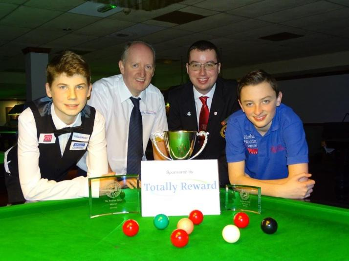 Bronze Snooker Open Finalists with Tournament Sponsor & Referee 2017-18