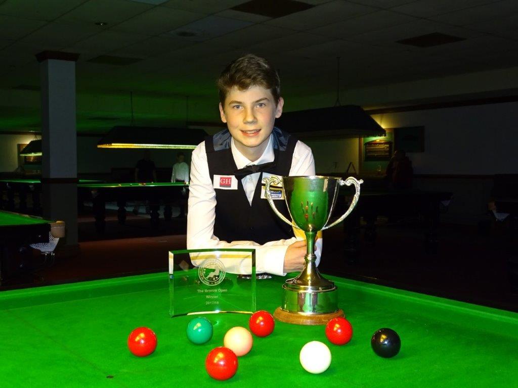 Bronze Snooker Open Winner - Connor Benzey 2017-18