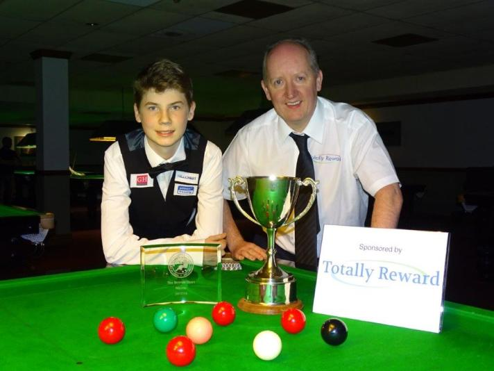 Bronze Snooker Open Winner - Connor Benzey with Tournament Sponsor 2017-18