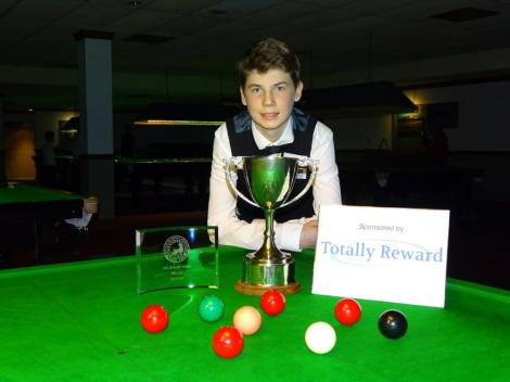 Bronze Snooker Open Winner - Connor Benzey with tournament sponsor logo 2017-18