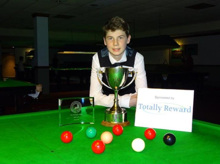Bronze Snooker Open Winner - Connor Benzey with tournament sponsor logo 2017-18