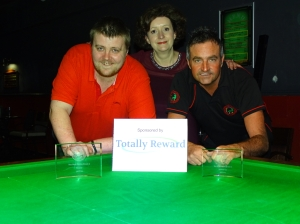 Gold Series Event 5 Finalists - Winner Andy Symons and Runner-up Eddie Manning 2017-18 (with Gold Series Sponsor)