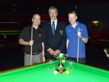 WEBSF Billiards Open Finalist 2018-19 - Steve Brookshaw winner & Ryan Mears Runner-up - Center Referee David Cook
