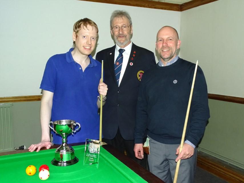WOE Open Billiards Finalists - Ryan Mears, David Cook (Referee) & Graham Ward 2018-19