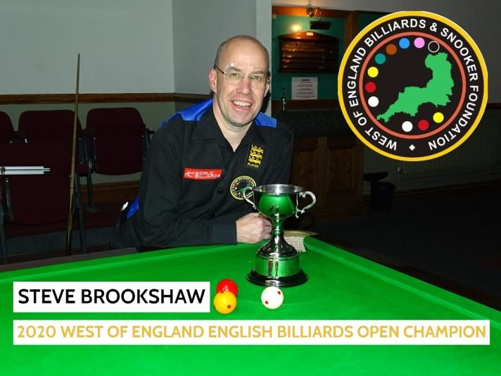 WOE Open Billiards Winner - Steve Brookshaw 2019-20